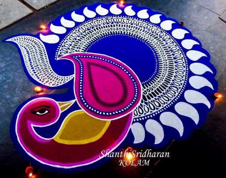 Margazhi Kolangal - Beautiful Peacock Design Rangoli